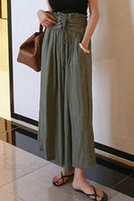 Paneled Solid Elastic Lace Up Wide Leg Pants