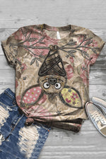 Cartoon Bat Print Vintage Paneled Short Sleeves T-shirt