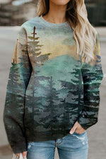 Gradient Landscape Forest Mountain Print Vintage T-shirt