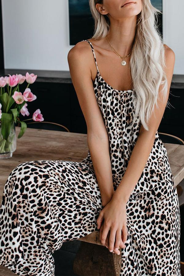 Leopardenmuster Sling Backless Holiday Wide Leg Jumpsuit