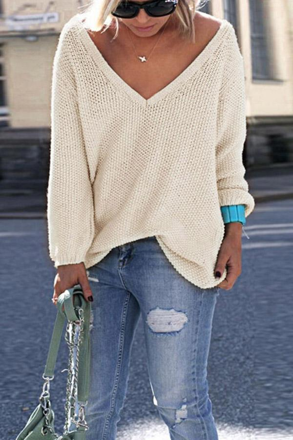 Solid V-neck Knitted Sweater