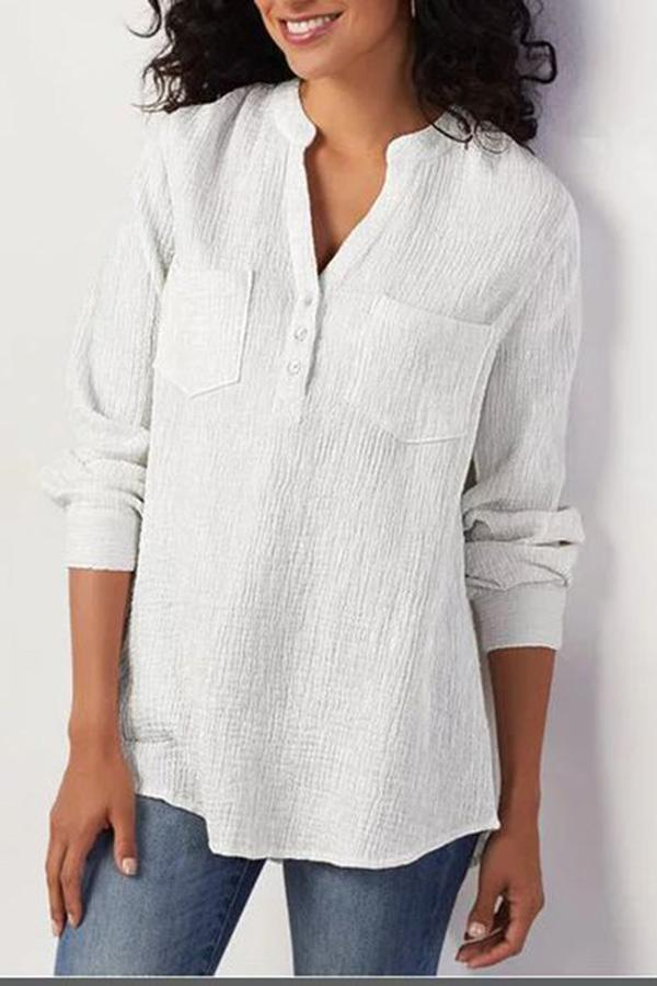 Solid Paneled Buttoned V-neck Curved Hem Pleated Casual Blouse