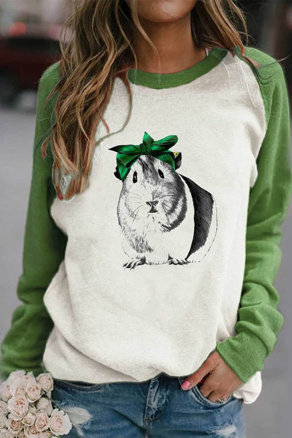 Lovely Hamster Print Color-block Raglan Sleeves Casual Women T-shirt