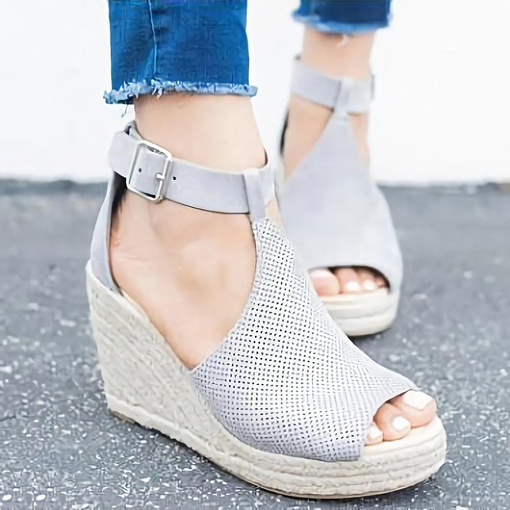Ankle Strap  Leopard Wedge Sandals