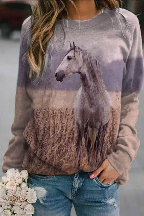 Lifelike Horse In The Wheat Field Jacquard Gradient Nature Landscape Vintage T-shirt