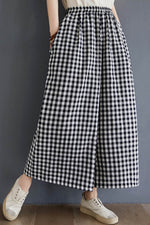 Plaid Print Paneled Elastic Side Pockets Casual Wide Leg Pants
