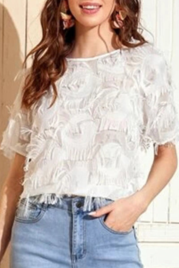 Casual Solid Paneled Tassel Hollow Out Short Sleeves Blouse