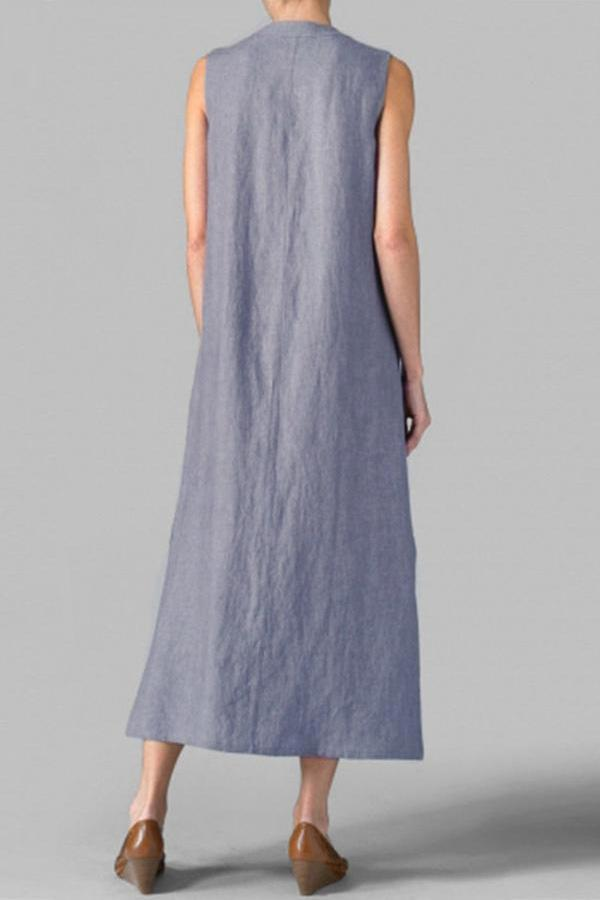 Linen Button-up Slit Sleeveless Maxi Dress
