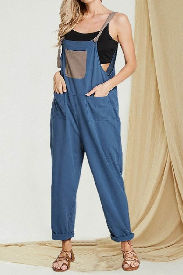 Color-block Solid Sling Paneled Pockets Harem Jumpsuit