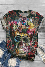 Vintage Floral Skull Print Paneled Short Sleeves T-shirt