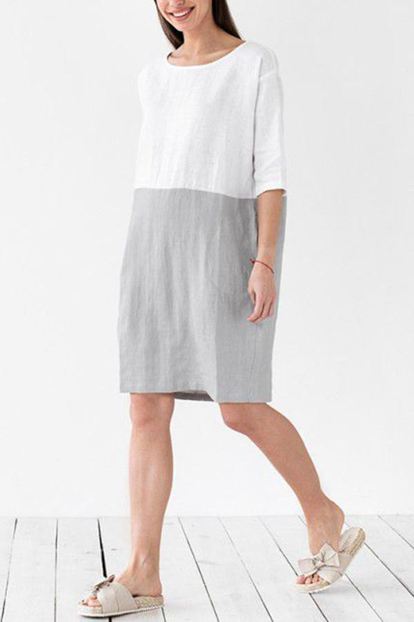 Linen Crew Neck Color-block Midi Dress