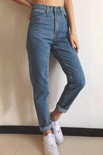 Solid Casual Mid Waist Pants