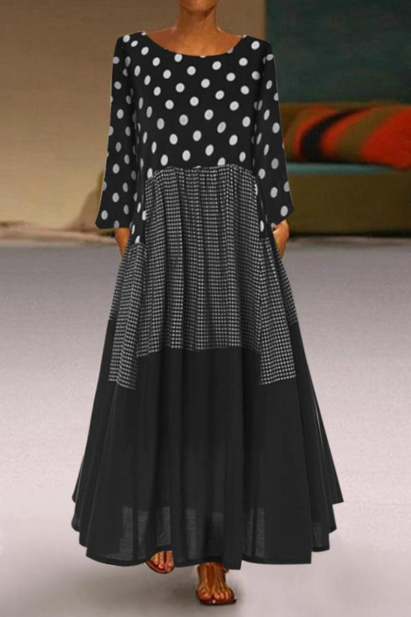 Polka Dots Print Paneled Round Neck Maxi Dress