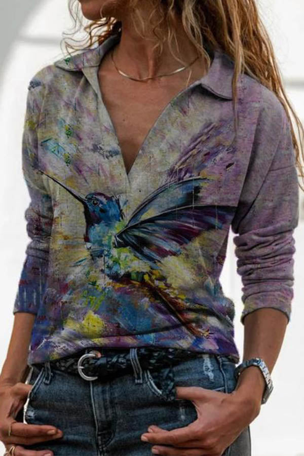 Women Spread Wings Vivid Bird Gradient Print Trendy Sheath Blouse