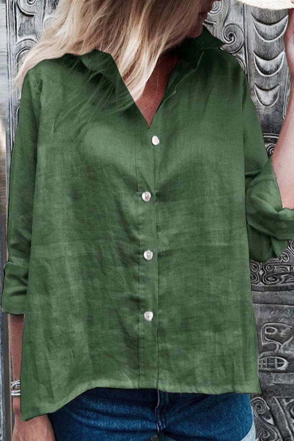 Casual Solid Button Front Shirt