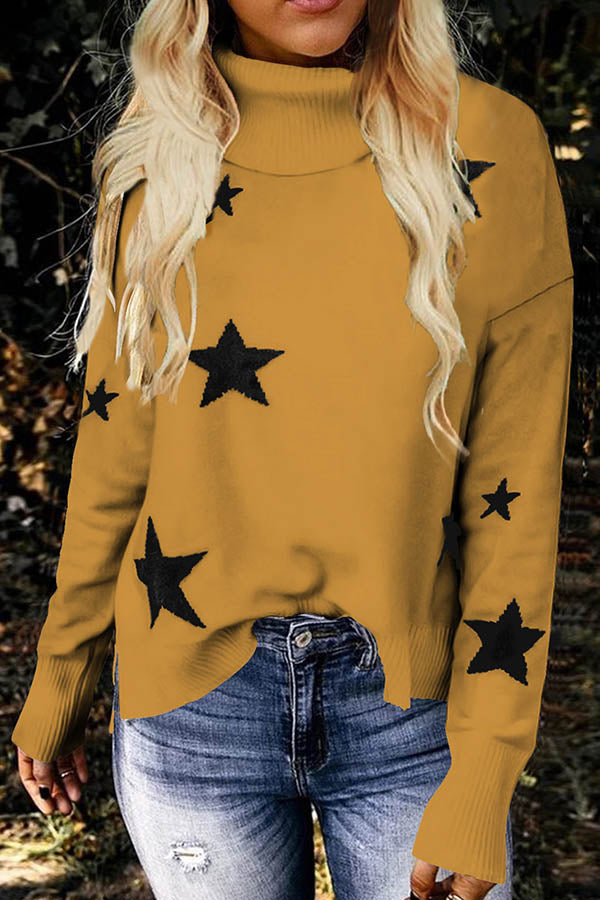 Elegant Star Jacquard Turtle Neck Knitted Ribbed Sweater