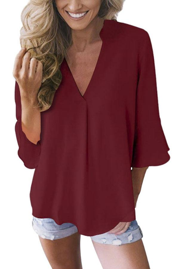 Casual 3/4 Length Flare Sleeves Loose Chiffon Blouse