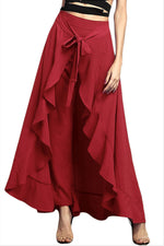 Elegant Solid Paneled Self-tie Ruffled Hakama Pants