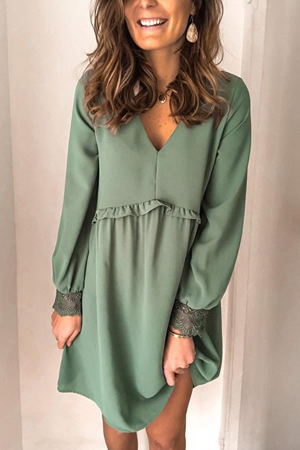 Solid Casual V Neck Lace Long Sleeves Mini Dress