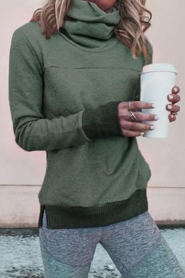 Casual Solid High Neck Sweatshirt