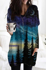 Holiday Starry Sky Gradient Treetop Lake Landscape Print T-shirt