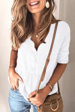 Casual V Neck Pullover Button Blouse