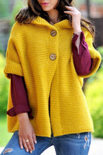 Buttoned Hooded Neck Half Sleeve Cardigan