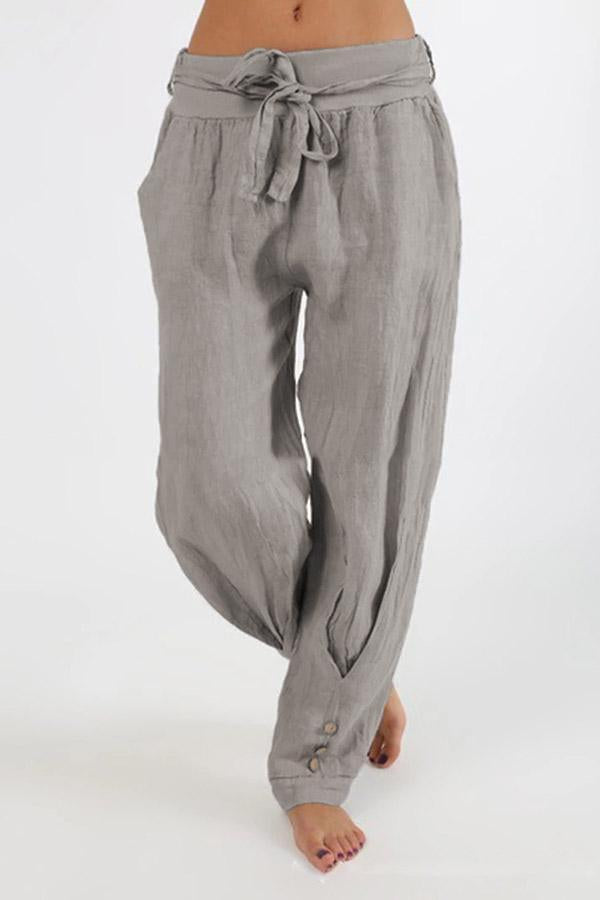 Solid Linen Buttons Self-tie Pants