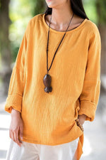 High Low Solid  Long Sleeve T-shirts
