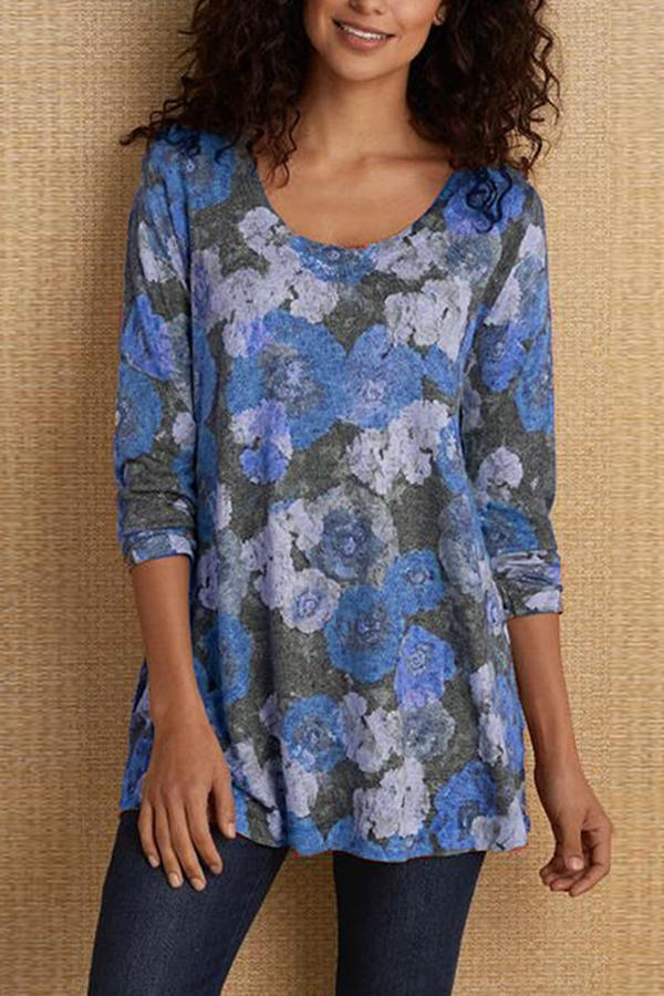 Floral Printed Long Sleeves T-shirt