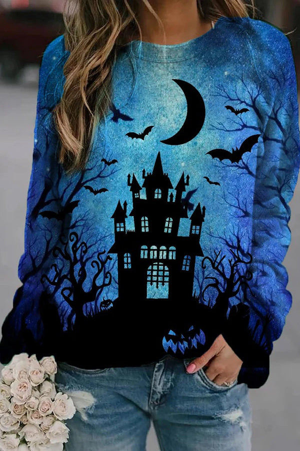 Starry Sky Gradient Blue Ancient Castle Bat Moon Pumpkin Halloween Sweatshirt