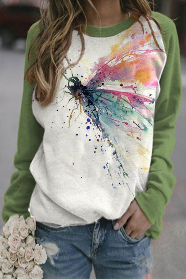 Literary Colorful Tie Dye Dragonfly Print Raglan Sleeves Color-block T-shirt