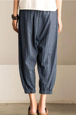 Leinen Casual Solid Pocket Striped Pants