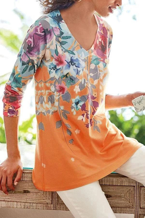 Holiday V-neck Floral Print Long Sleeves T-shirt