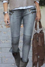 Casual Solid Pleated Zipper Jeans