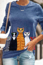 Five Colorful Cute Cartoon Cat With Smile Face Print Sheath T-shirt