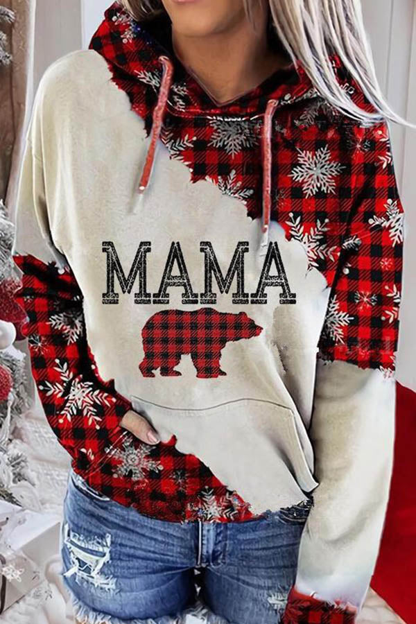 Mama Bear Letter Plaid Snowflake Print Diagonal Color-block Holiday Hoodie