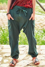 Self-tie Solid Paneled Pockets Foot-binding Casual Harem Pants