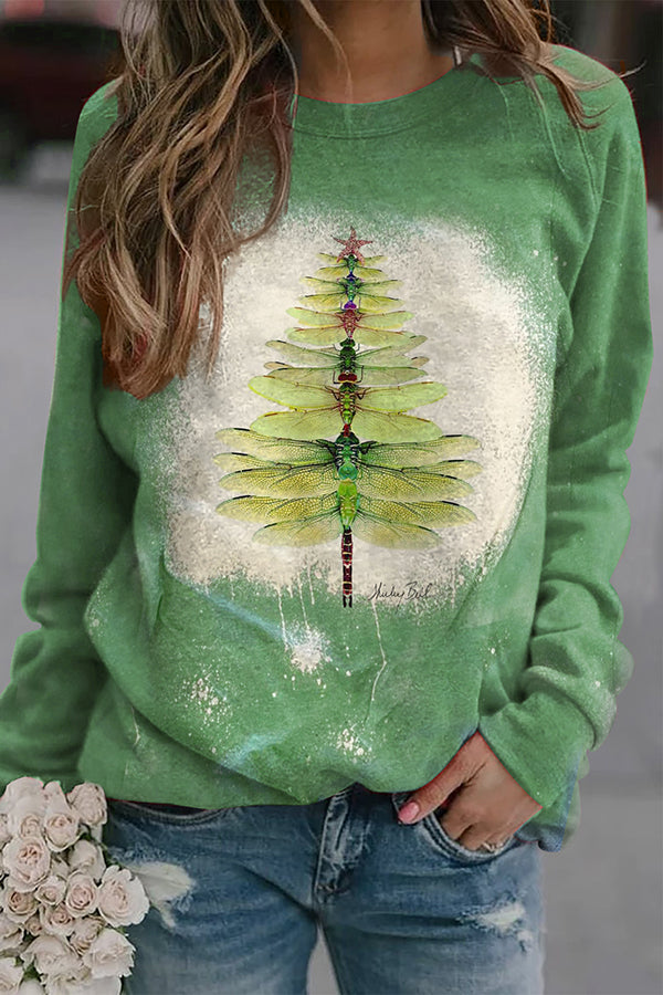 Holiday Green Dragonfly Christmas Tree Print Gradient T-shirt