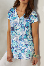 Vintage V-neck Leaf Floral Print Short Sleeves T-shirt