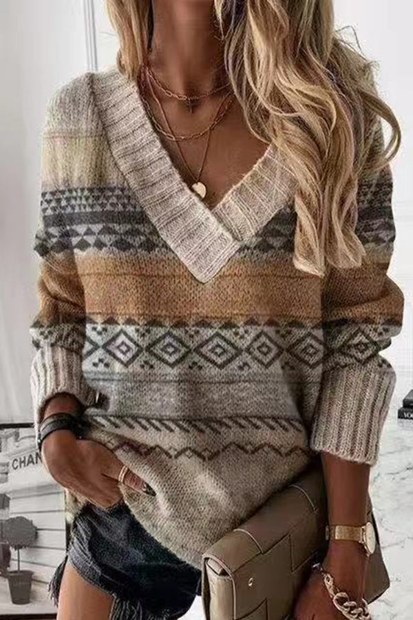Holiday Geometric Jacquard Knitted Ribbed V-neck Sweater