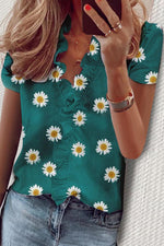 Daisy Print Paneled V-neck Ruffled Casual Blouse