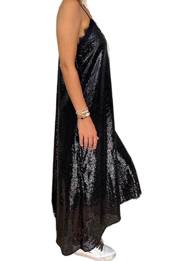 Sequins Spaghetti Loose Shift Backless Maxi Dress