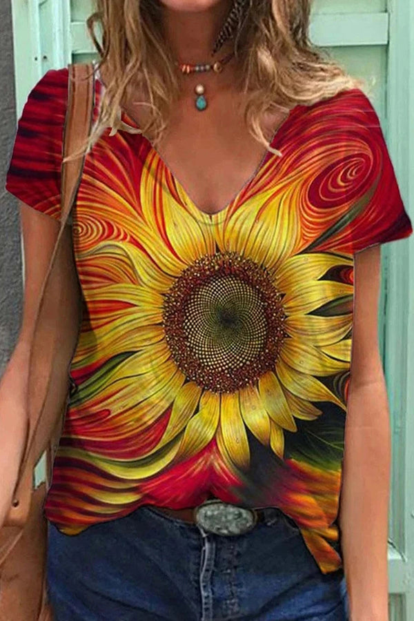 Artistic Gold Sunflower Gradient Print V Neck Shift T-shirt