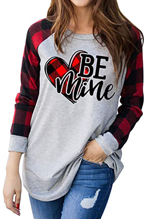 Be Mind Letter Heart Shaped Plaid Print Raglan Sleeves Color Block Holiday T-shirt