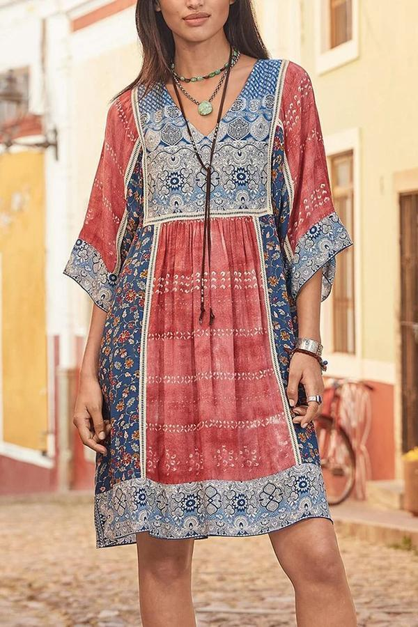 Bohemian Floral Print Tribal Holiday Midi Dress