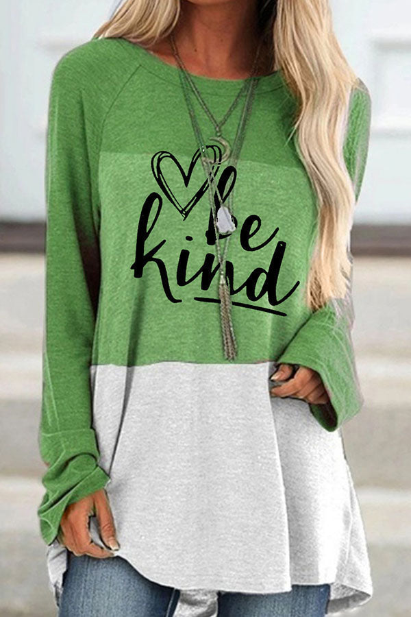 Be Kind Letter Heart Shaped Print Raglan Sleeves Color Block Sweety T-shirt