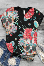 Skull Floral Print Paneled Short Sleeves Vintage T-shirt
