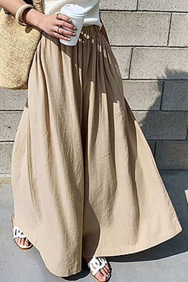 Solid Casual Paneled Elastic Side Pockets Wide Leg Pants