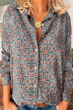 Floral Print Paneled Buttons Down Street Fashion Blouse
